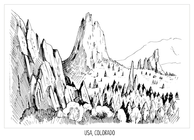 Garden of gods. landscape of usa, colorado.  hand drawn ink sketch . shape isolated with transparent background Premium Vector