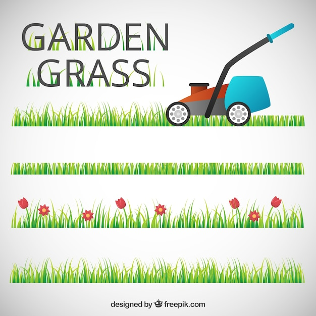Garden grass with a lawn mower Free Vector