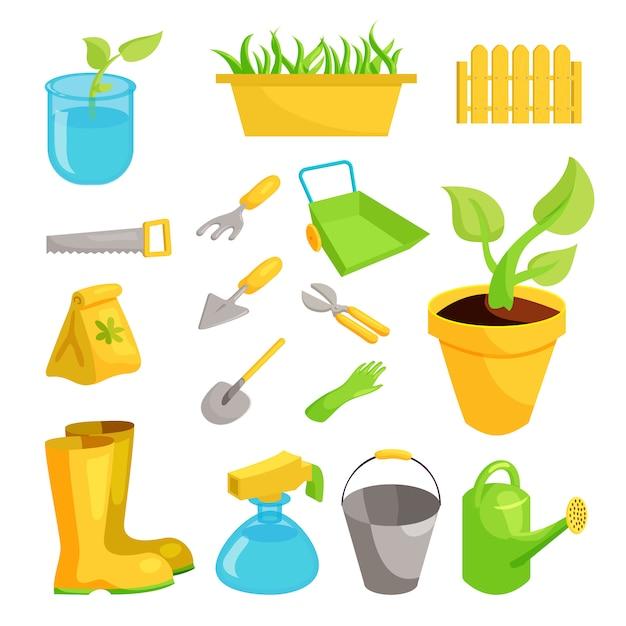 Garden icons set, cartoon style Premium Vector
