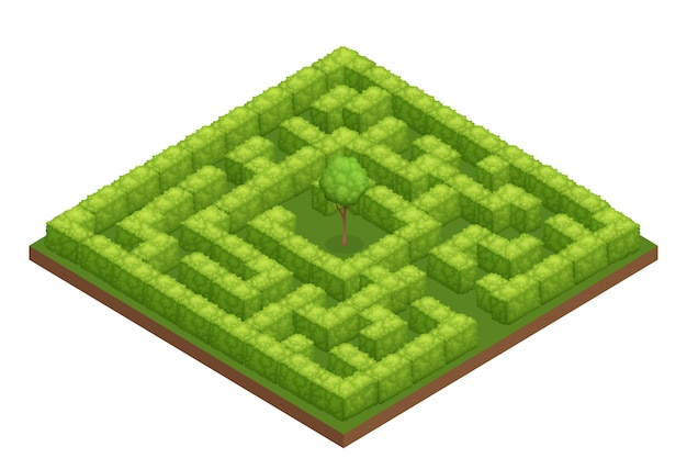 Garden labyrinth isometric composition Free Vector