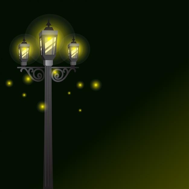 Garden lamp or street lights with light effect background Premium Vector