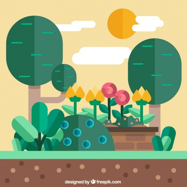 Garden Landscape Flat Design Free Vector Part 73