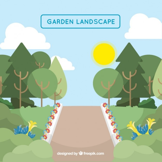 Garden Landscape With A Path And Flowers Free Vector Part 74