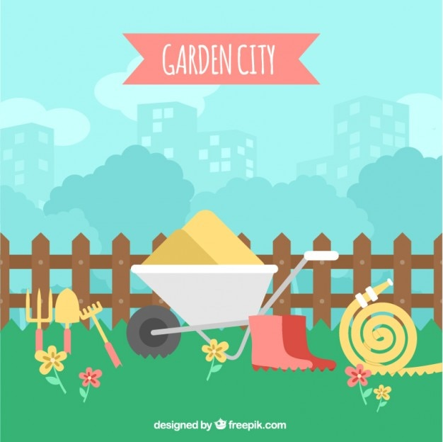 Garden Landscape With Gardening Tools Free Vector Part 66