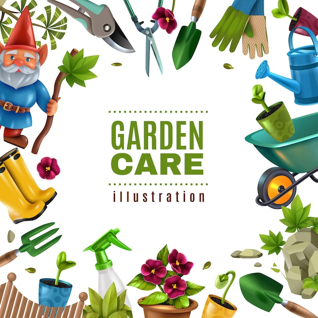 Garden maintenance colorful tools equipment accessories square frame with spade seedlings pruners flowers rake sprayer Free Vector
