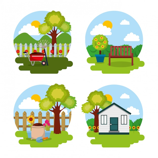 Garden natural theme tree flowers house bench and tools Premium Vector