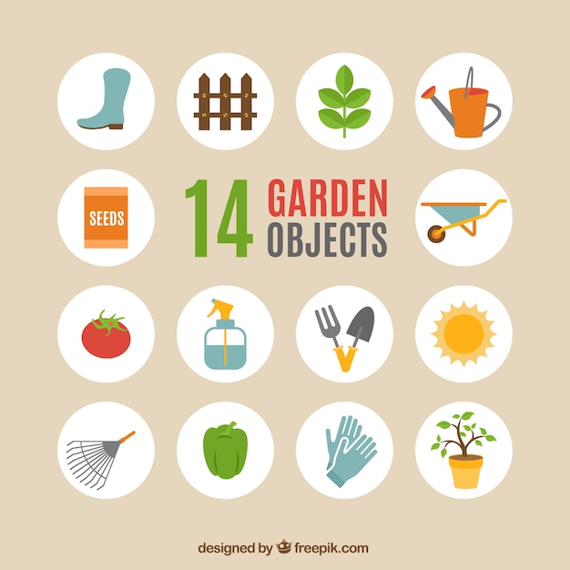 Garden objects Free Vector