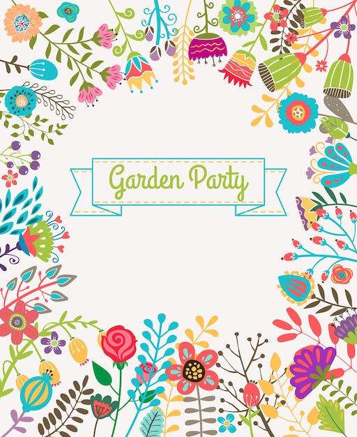 庭や夏のパーティーの招待状のテンプレートやポスター。自然の花セットデザインベクトルイラスト植物 無料ベクター