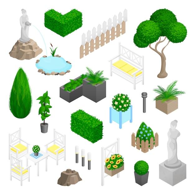 Garden park landscape elements Free Vector