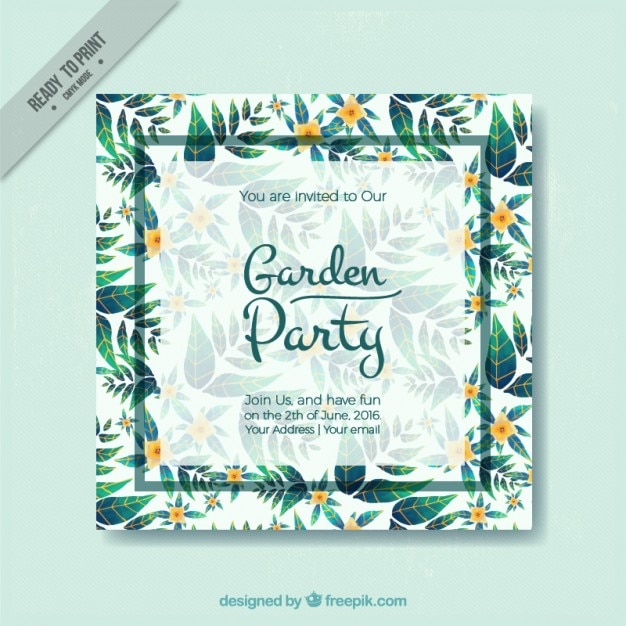 Garden party card with cute green leaves Premium Vector