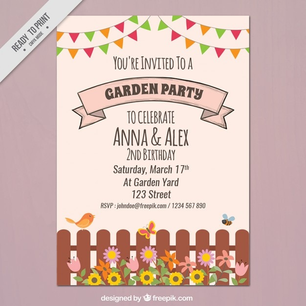 Garden party flyer with a fence and garlands Vector Free Download