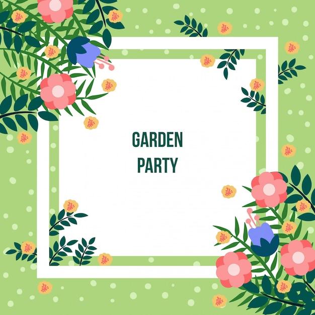 Garden party frame template Vector | Premium Download
