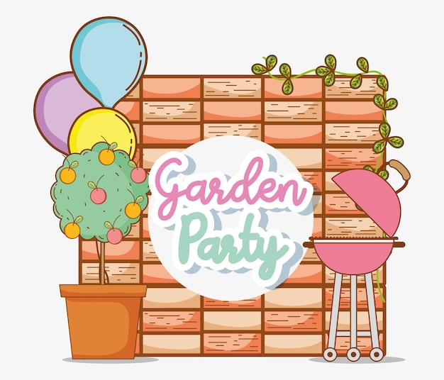Garden party invitation card with cute cartoons vector premium garden party invitation card with cute cartoons premium vector stopboris Images