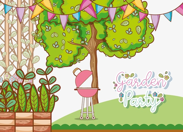 Garden party invitation card with cute cartoons vector premium garden party invitation card with cute cartoons premium vector stopboris Choice Image