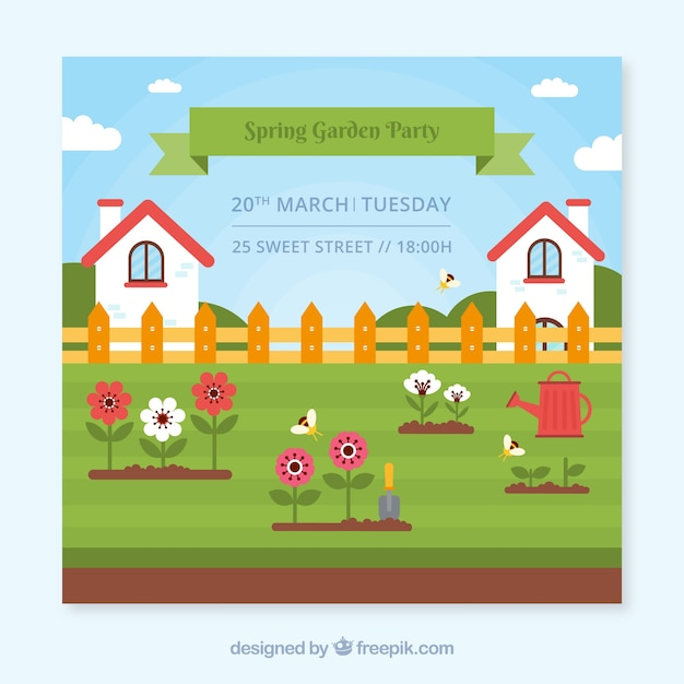 Garden party invitation design with houses Free Vector