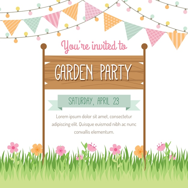 garden party invitation design vector free download. Black Bedroom Furniture Sets. Home Design Ideas