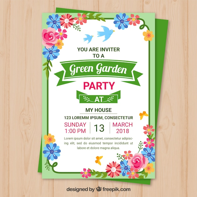 garden party invitation template design vector free download