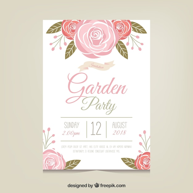 Garden party invitation template with beautiful flowers Vector ...
