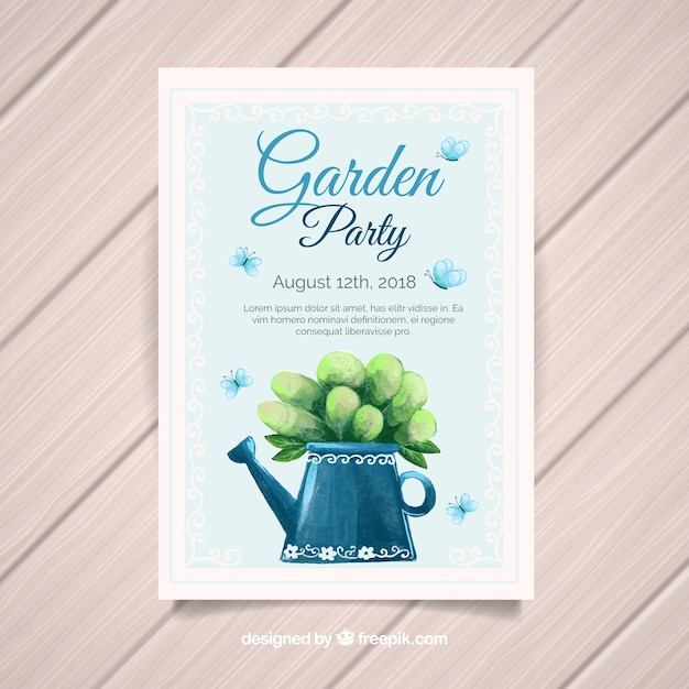 garden party invitation template with watering can vector free