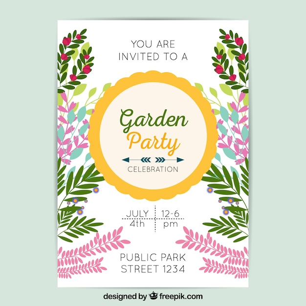 Garden party invitation template Vector | Free Download