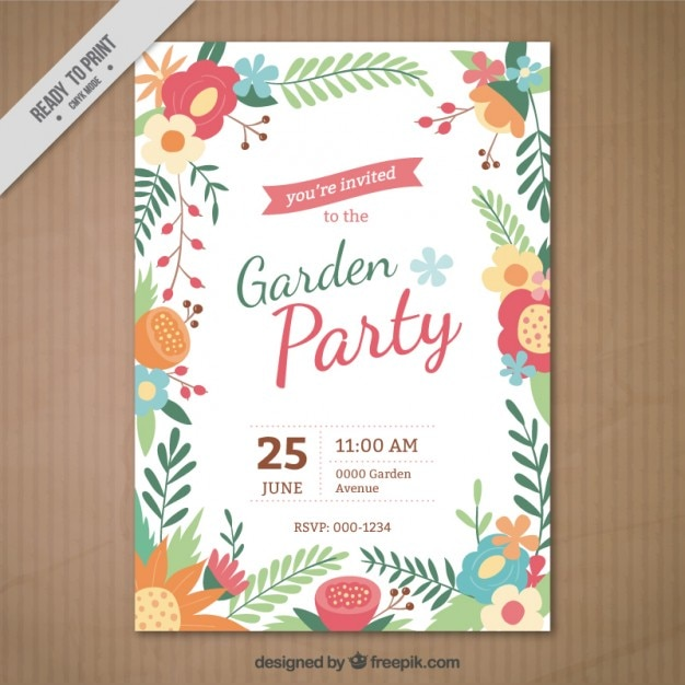 Garden party invitation with a floral frame vector free download garden party invitation with a floral frame free vector stopboris Gallery