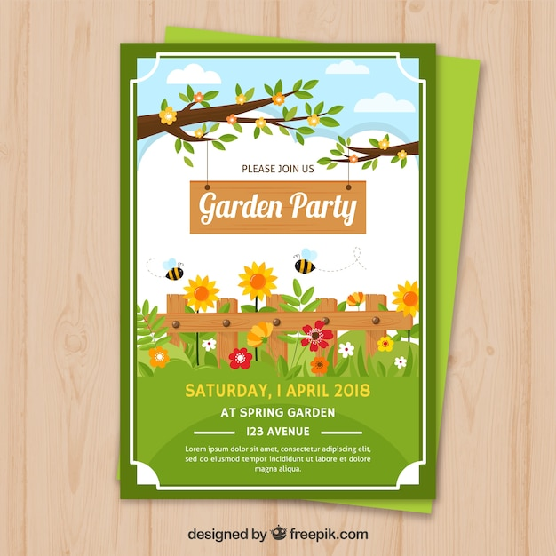 Garden party invitation with branches and flowers Free Vector