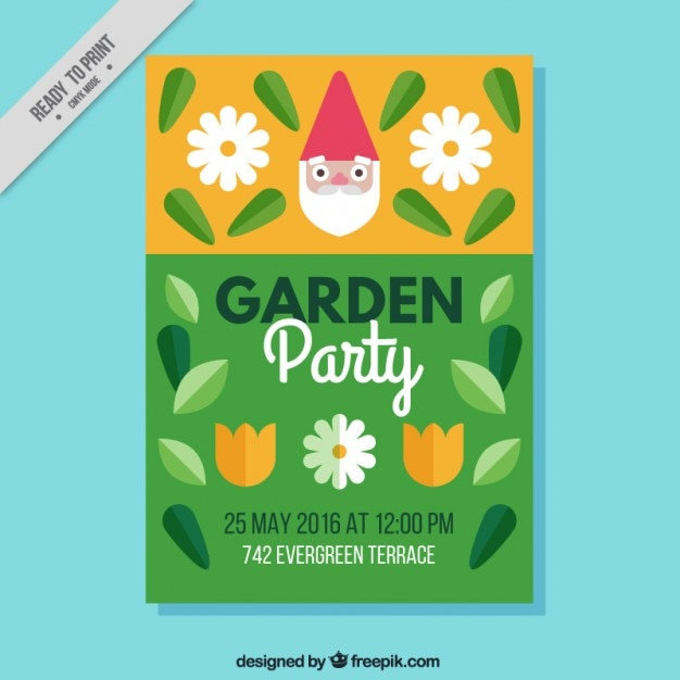 Garden party invitation with gnome face Free Vector