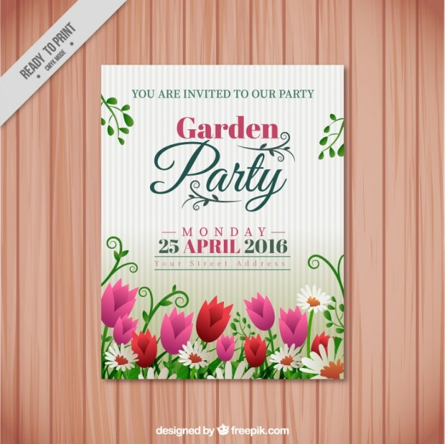 Garden party invitation with tulips and\ daisies