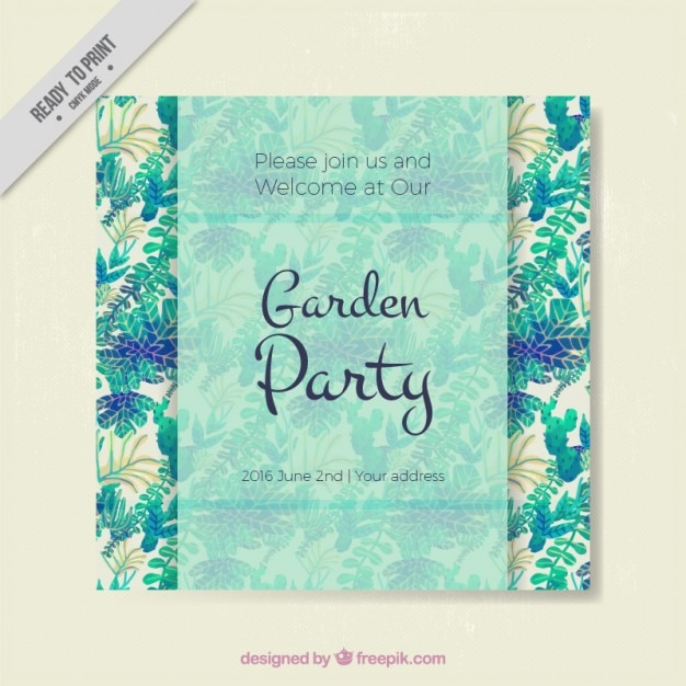 Garden party invitation with watercolor leaves Free Vector