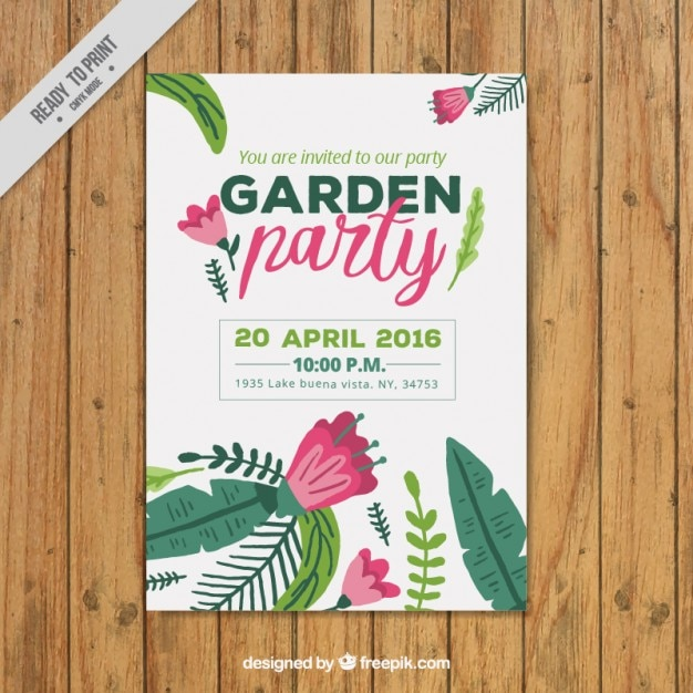 Garden Party Poster Template Free Vector