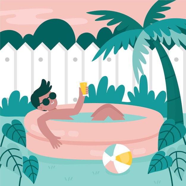 Garden pool staycation concept Free Vector