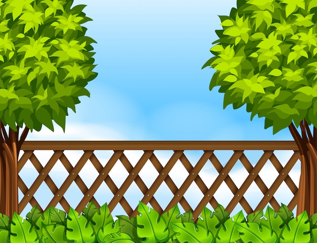 Garden scene with fence and trees Free Vector