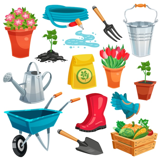 Garden set with sprout and inventory Free Vector
