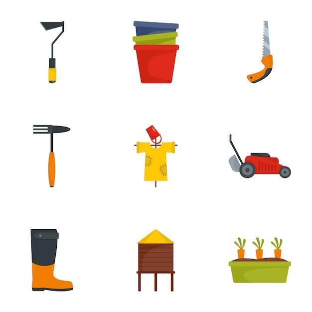 Garden tool icon set, flat style Premium Vector
