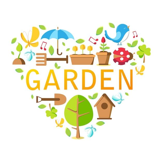 木、鉢、地面、じょうろ、巣箱、その他多くのオブジェクトを白にしたガーデンツールコレクション 無料ベクター