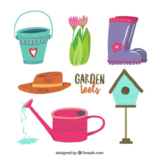 Garden tools cute designs   Free Vector