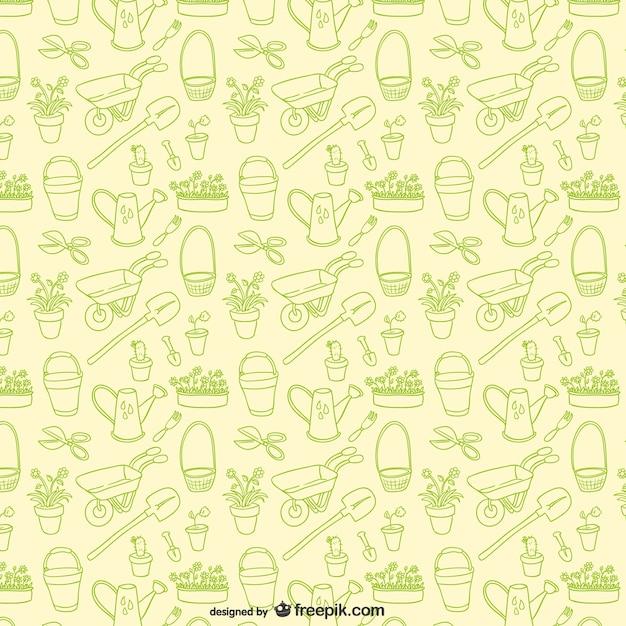 Garden tools editable pattern Free Vector