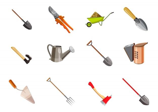 Набор элементов садовых инструментов. мультяшный набор садовых инструментов Premium векторы