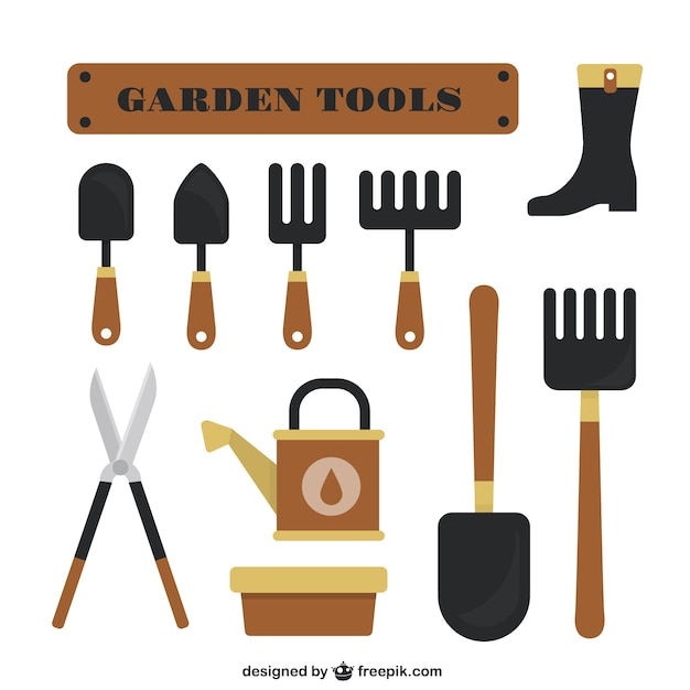 garden tools flat design set vector free download