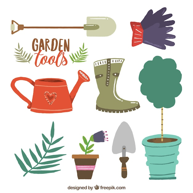 Garden tools flat design set vector premium download for Pretty garden tools set