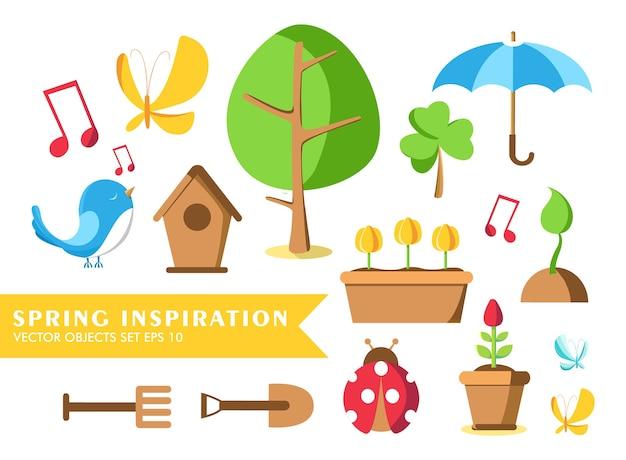 Collezione di set di attrezzi da giardino con parole ispirazione primaverile e coccinella, vaso, terreno, annaffiatoio, casetta degli uccelli e molti altri oggetti Vettore gratuito