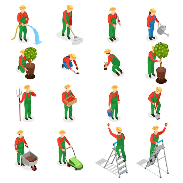 Gardener characters icon set Free Vector