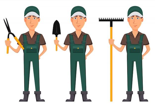 Gardener man, cartoon character in uniform Premium Vector