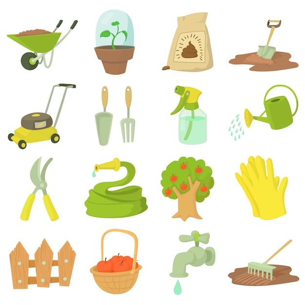 Gardener tools set Premium Vector