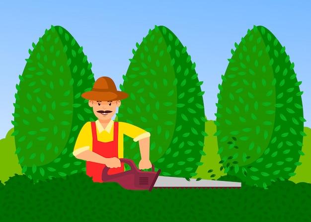 Gardener with hedge trimmer vector illustration Premium Vector