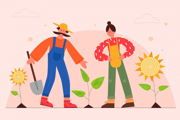 Premium Vector Gardeners Flat Vector Illustration Couple Of Farmers Planting Sunflowers In Garden Male And Female Cartoon Characters Working At Ranch Farming Family Taking Care Of Plants Gardening Concept