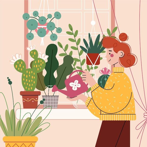 Садоводство дома иллюстрации концепции Бесплатные векторы