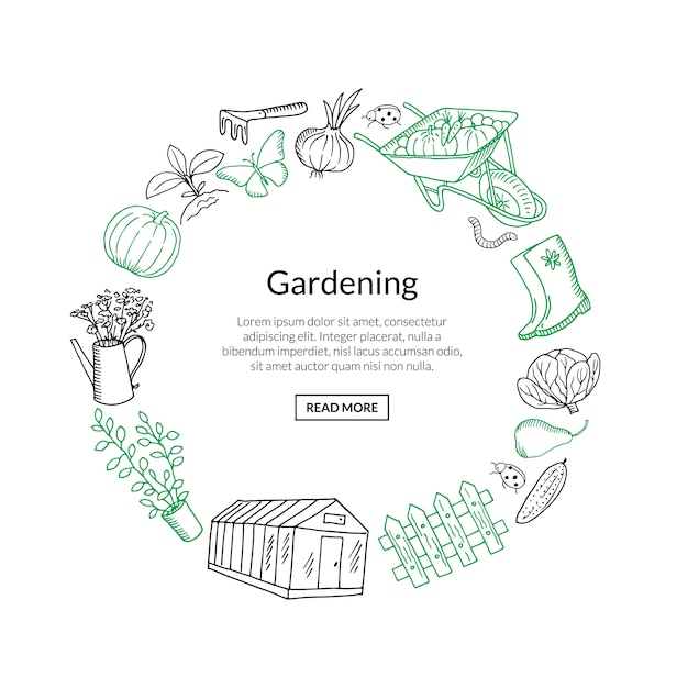 Gardening banner doodle icons in circle form Premium Vector