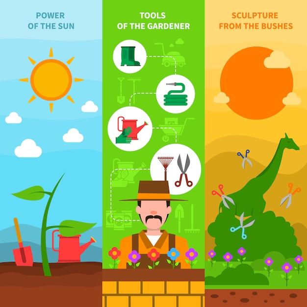 Gardening banner set Free Vector