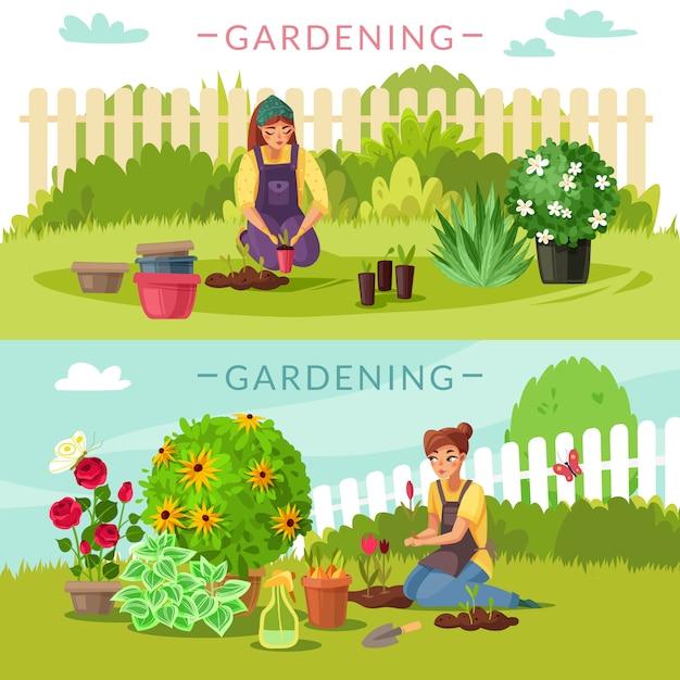 Gardening Cartoon Horizontal Banners Set Premium Vector